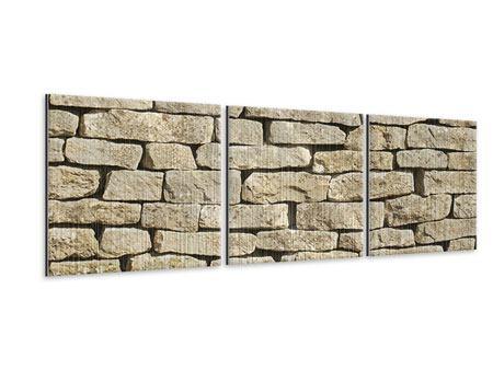 Panorama Metallic-Bild 3-teilig Alte Mauer