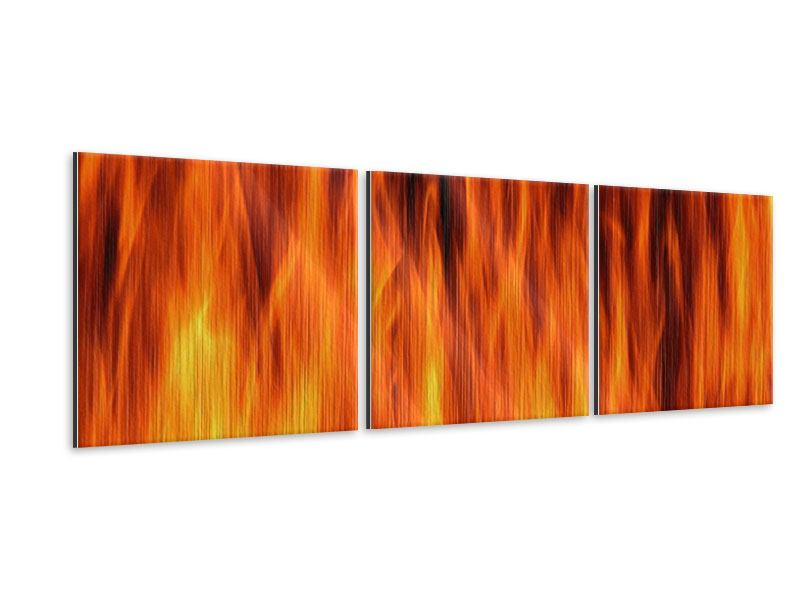 Panorama Metallic-Bild 3-teilig Feuer Close Up