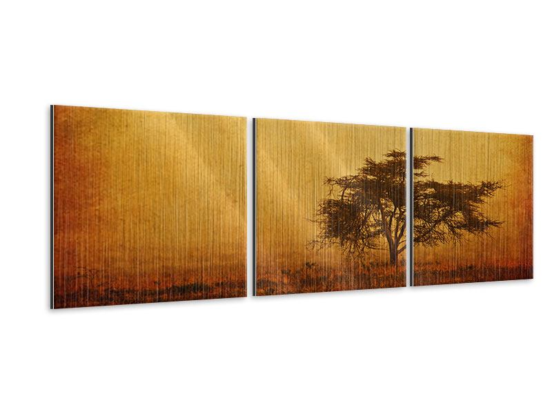 Panorama Metallic-Bild 3-teilig Sonnenuntergangsstimmung