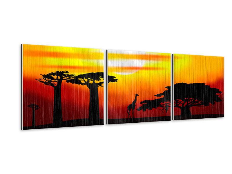 Panorama Metallic-Bild 3-teilig Faszination Afrika