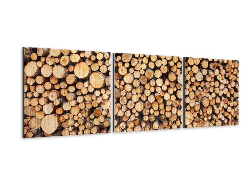 Panorama Metallic-Bild 3-teilig Holzstämme