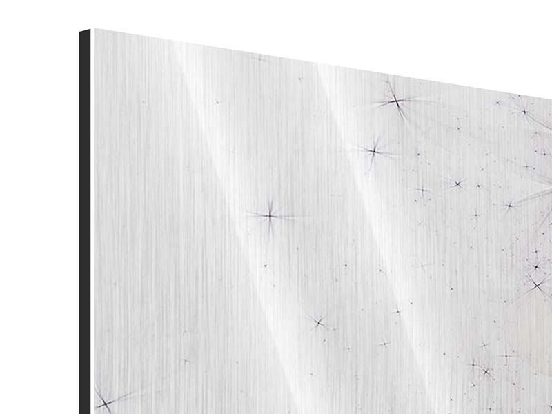 Panorama Metallic-Bild 3-teilig Abstrakte Blumen