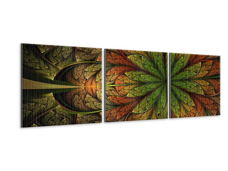 Panorama Metallic-Bild 3-teilig Abstraktes Blumenmuster