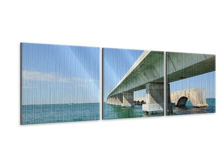 Panorama Metallic-Bild 3-teilig Seven Mile Bridge