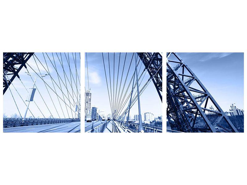 Panorama Metallic-Bild 3-teilig Schiwopisny-Brücke