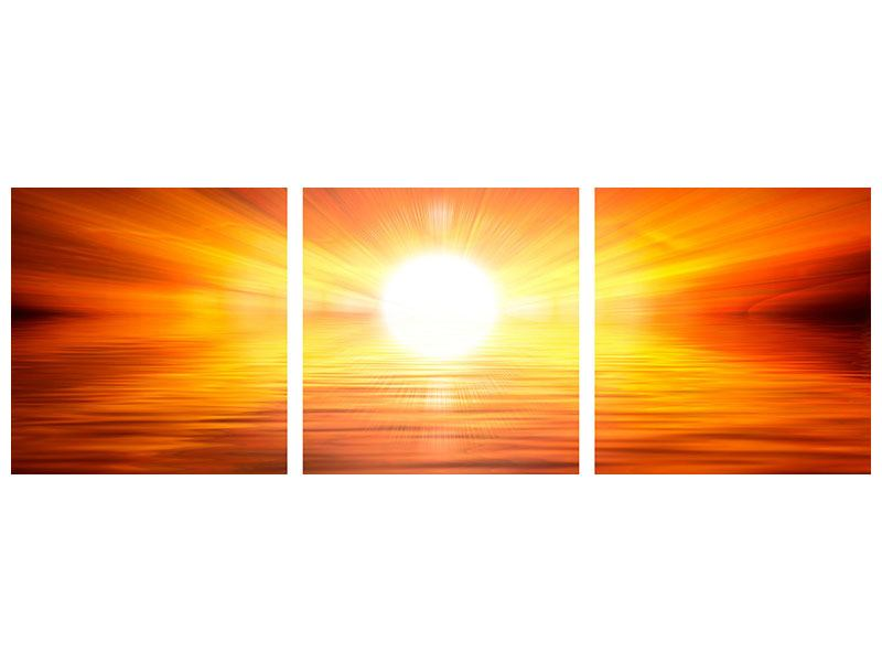 Panorama Metallic-Bild 3-teilig Glühender Sonnenuntergang