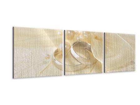 Panorama Metallic-Bild 3-teilig Trauringe