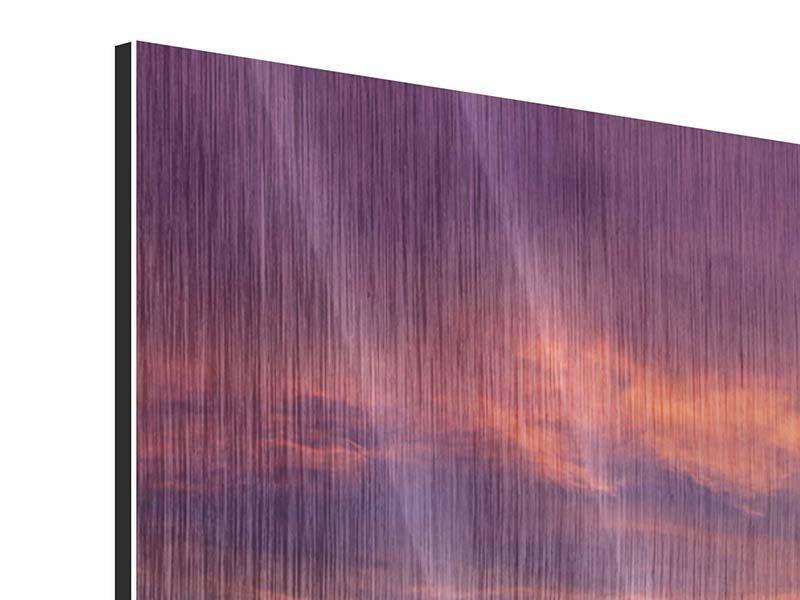 Panorama Metallic-Bild 3-teilig Abenddämmerung