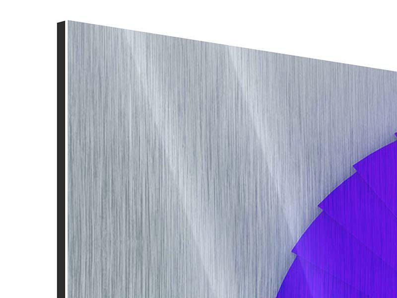 Panorama Metallic-Bild 3-teilig Bunte Wendeltreppe 3D