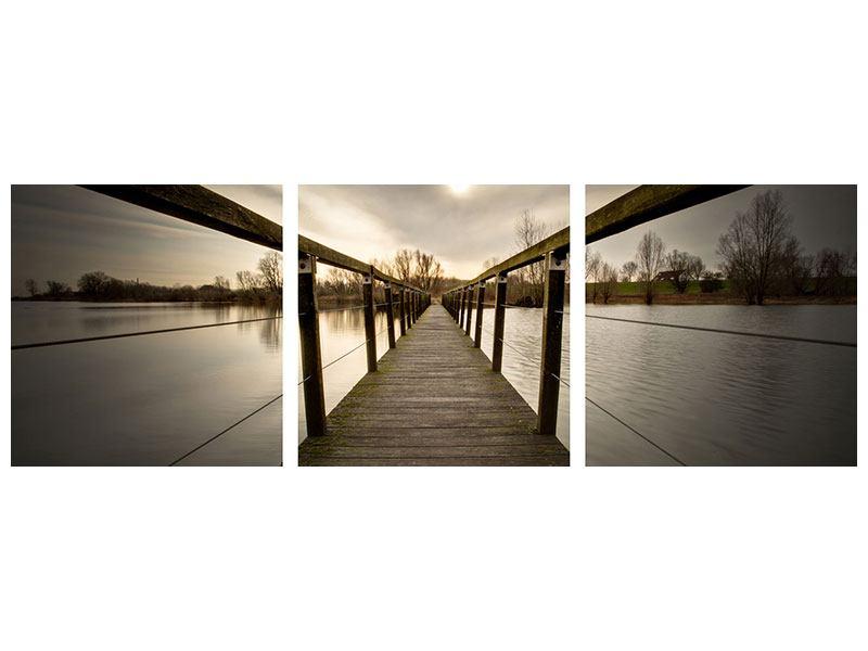 Panorama Metallic-Bild 3-teilig Die Holzbrücke