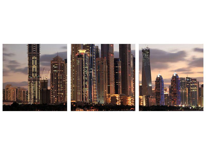 Panorama Metallic-Bild 3-teilig Skyline Dubai bei Sonnenuntergang