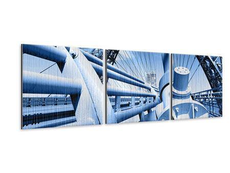 Panorama Metallic-Bild 3-teilig Avantgardistische Hängebrücke