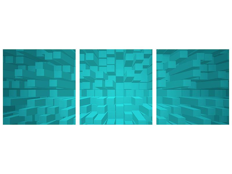 Panorama Metallic-Bild 3-teilig 3D-Kubusse