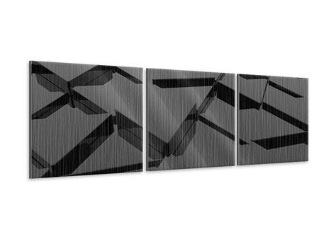 Panorama Metallic-Bild 3-teilig 3D-Dreiecksflächen