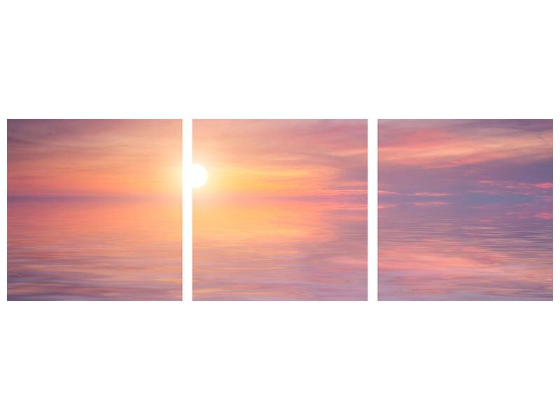 Panorama Metallic-Bild 3-teilig Sonnenuntergang auf See