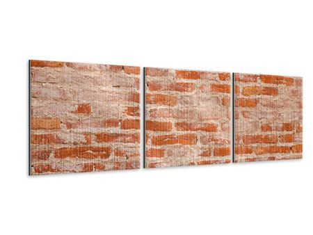 Panorama Metallic-Bild 3-teilig Mauerwerk