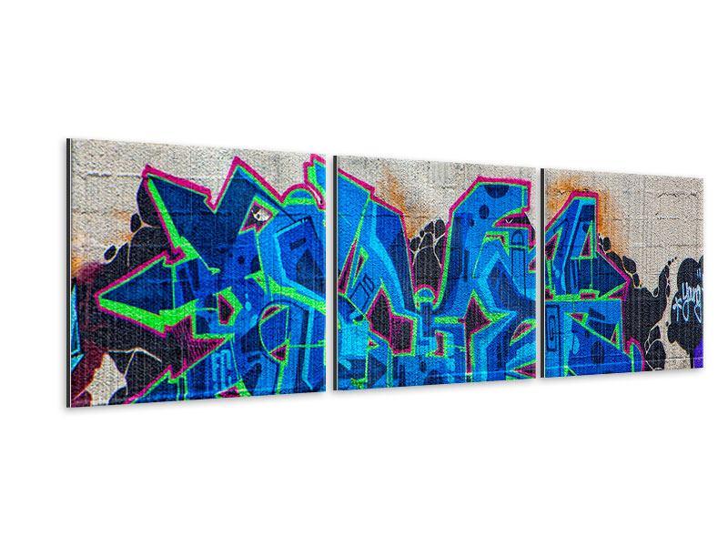 Panorama Metallic-Bild 3-teilig Graffiti NYC