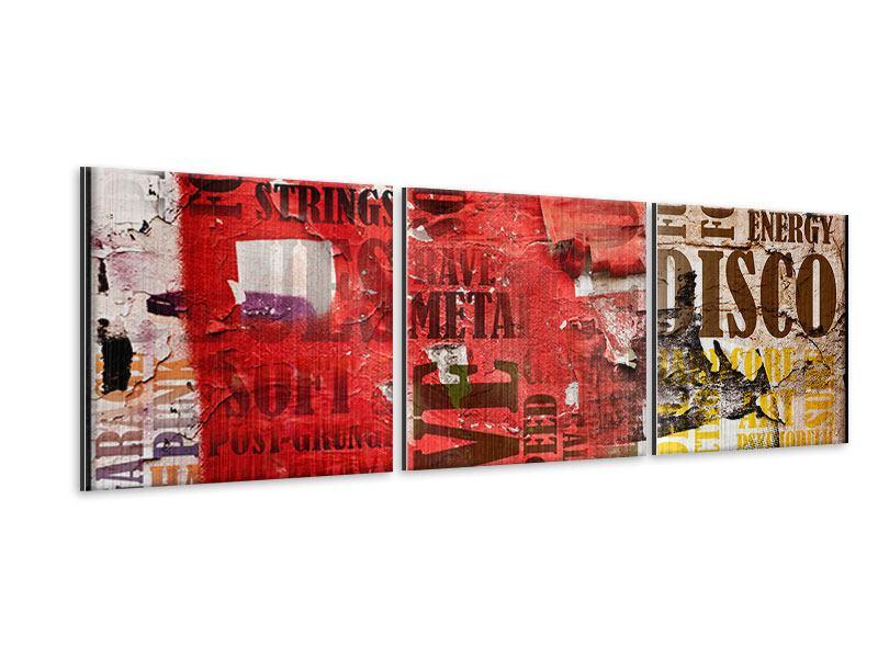 Panorama Metallic-Bild 3-teilig Musiktext im Grungestil