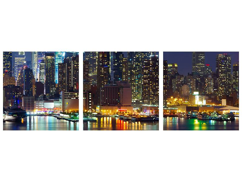 Panorama Metallic-Bild 3-teilig Skyline New York Midtown bei Nacht