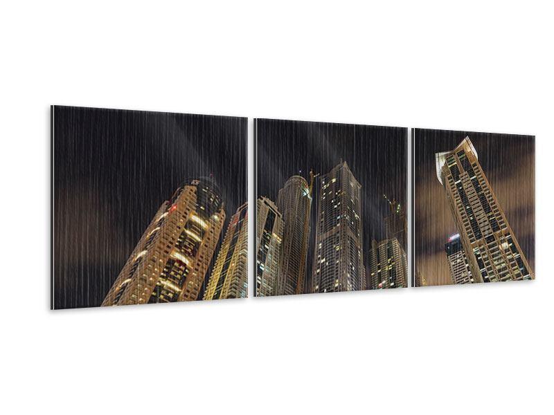 Panorama Metallic-Bild 3-teilig Wolkenkratzer Dubai Marina