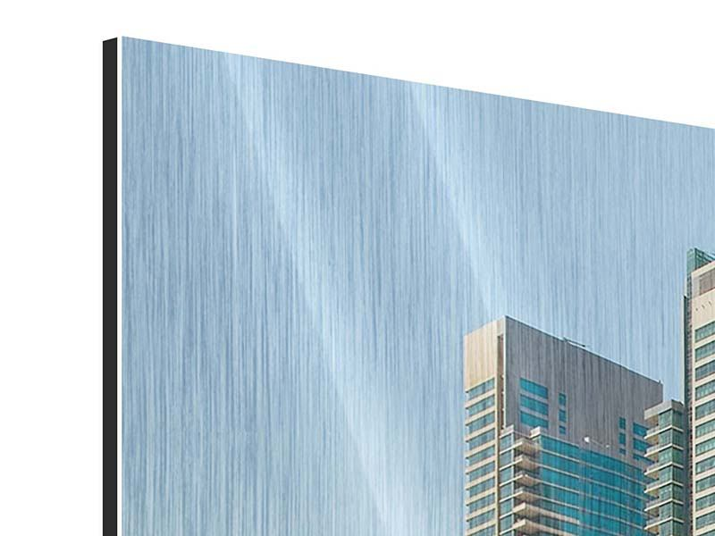 Panorama Metallic-Bild 3-teilig Spektakuläre Wolkenkratzer Dubai
