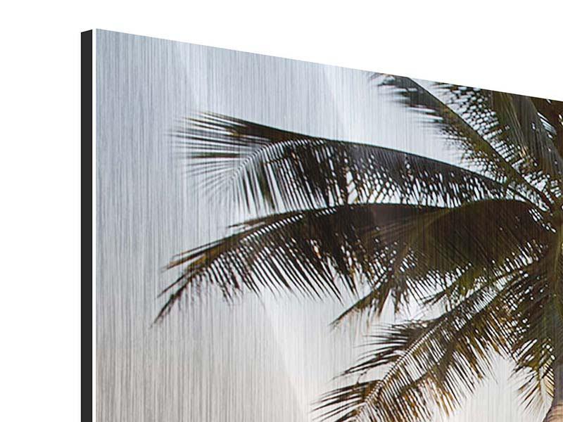 Panorama Metallic-Bild 3-teilig Palme