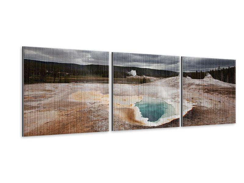 Panorama Metallic-Bild 3-teilig Vulkan