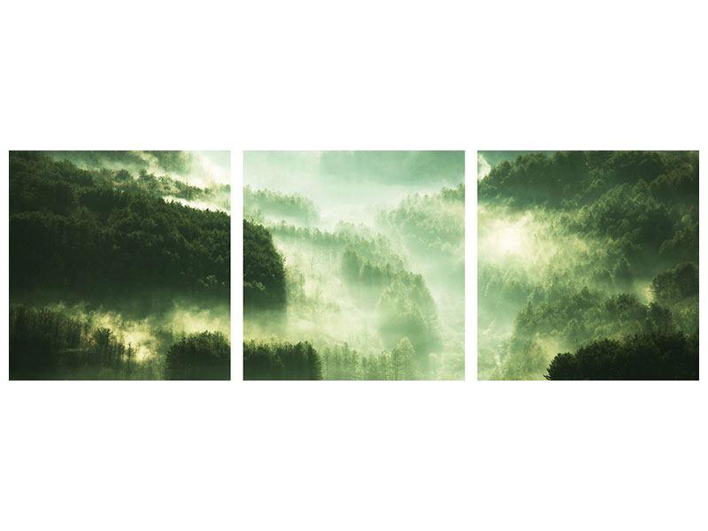 Panorama Metallic-Bild 3-teilig Über den Wäldern