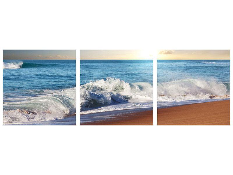 Panorama Metallic-Bild 3-teilig Die Wellen des Meeres