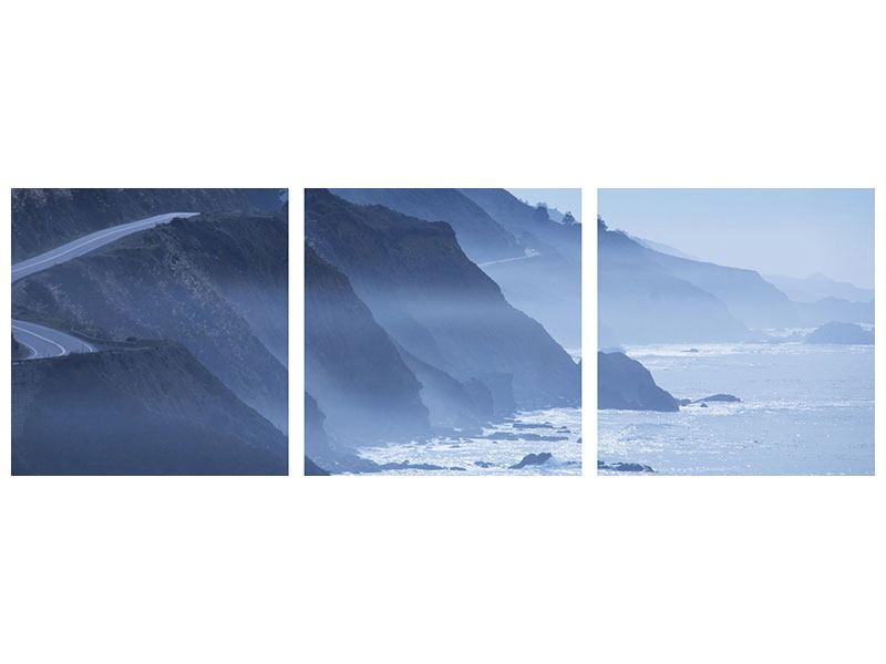 Panorama Metallic-Bild 3-teilig Bewegung im Wasser