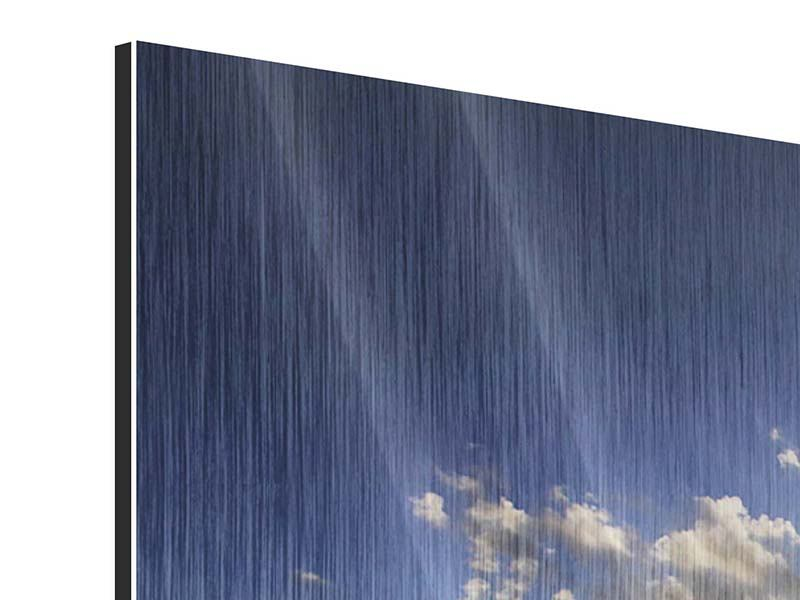 Panorama Metallic-Bild 3-teilig Das Meer im Sonnenaufgang