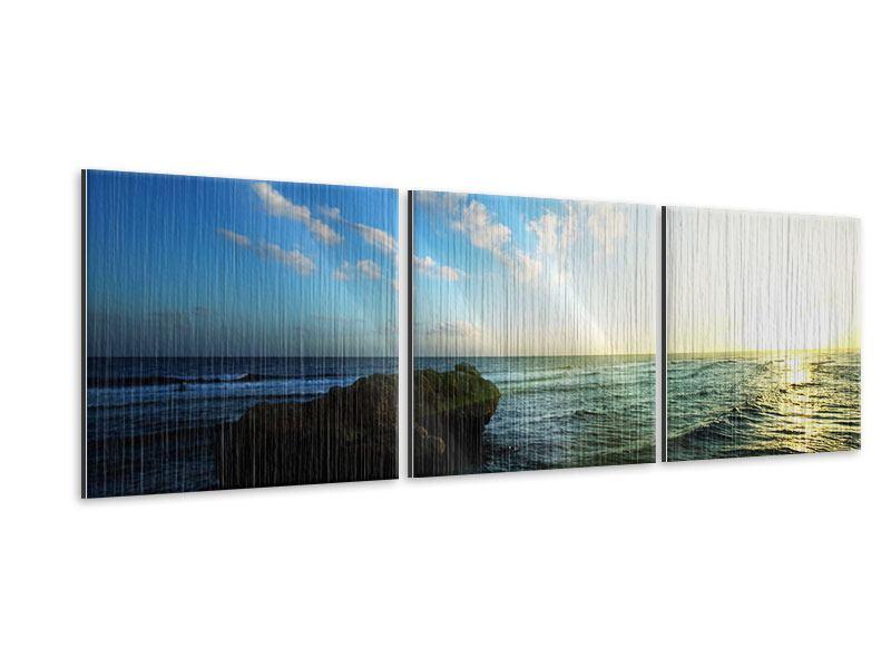 Panorama Metallic-Bild 3-teilig Die See