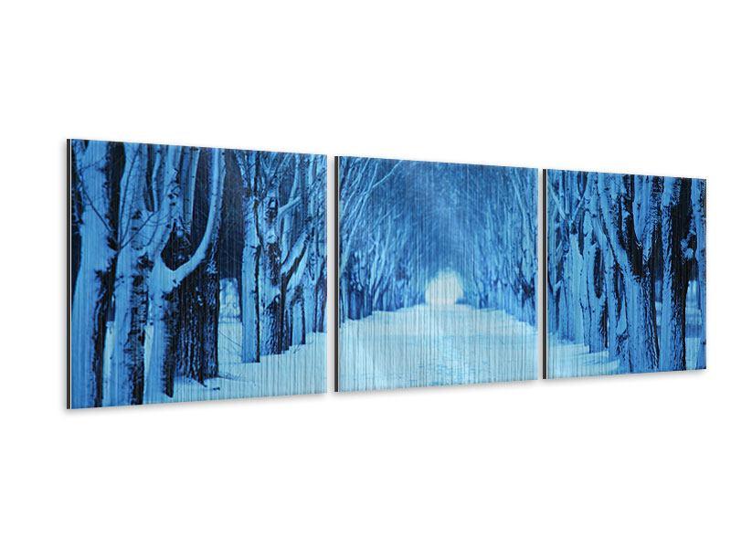 Panorama Metallic-Bild 3-teilig Winterbäume