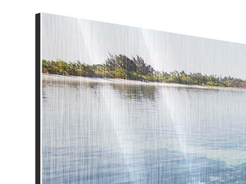 Panorama Metallic-Bild 3-teilig Bad im Meer