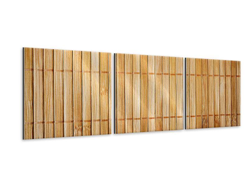 Panorama Metallic-Bild 3-teilig Bambusrohre