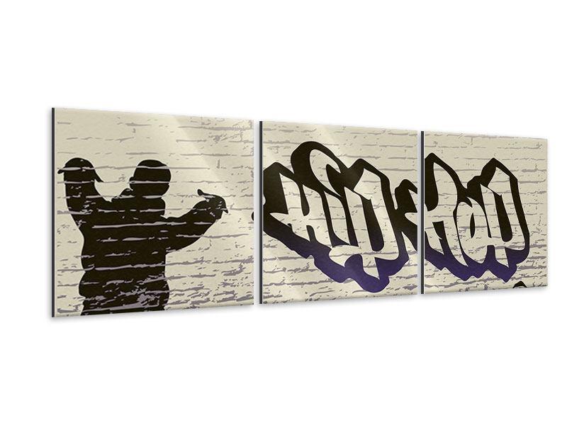 Panorama Metallic-Bild 3-teilig Graffiti Hip Hop