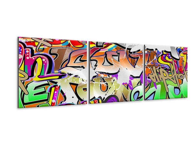 Panorama Metallic-Bild 3-teilig Writings