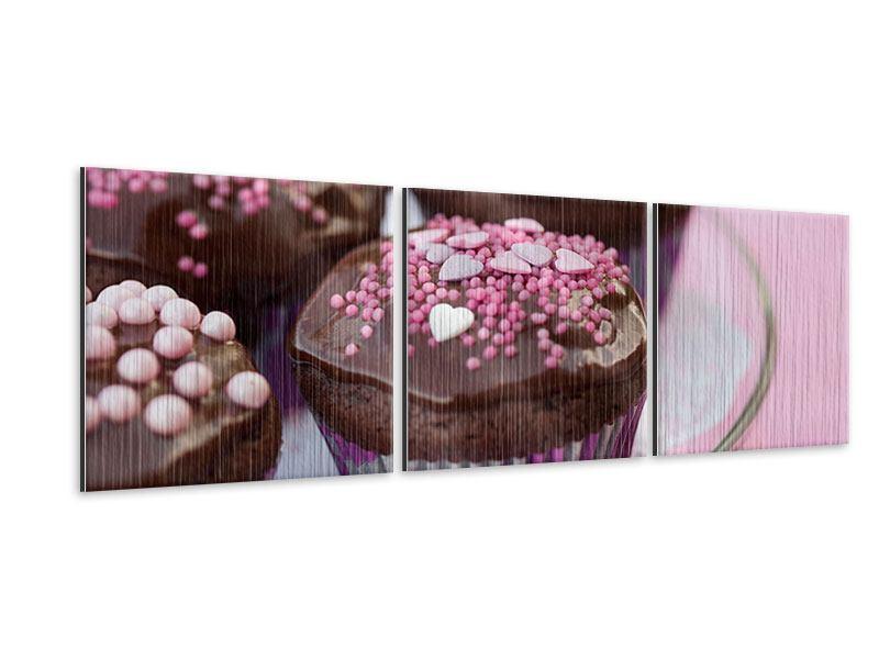 Panorama Metallic-Bild 3-teilig Muffins