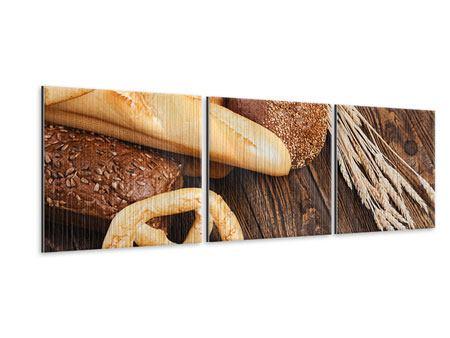 Panorama Metallic-Bild 3-teilig Brot und Bretzel