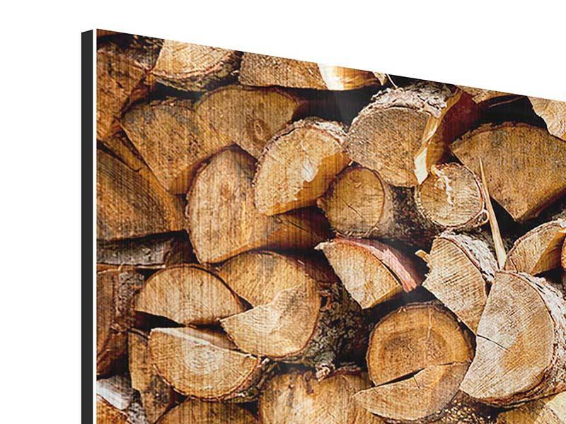 Panorama Metallic-Bild 3-teilig Gestapeltes Holz