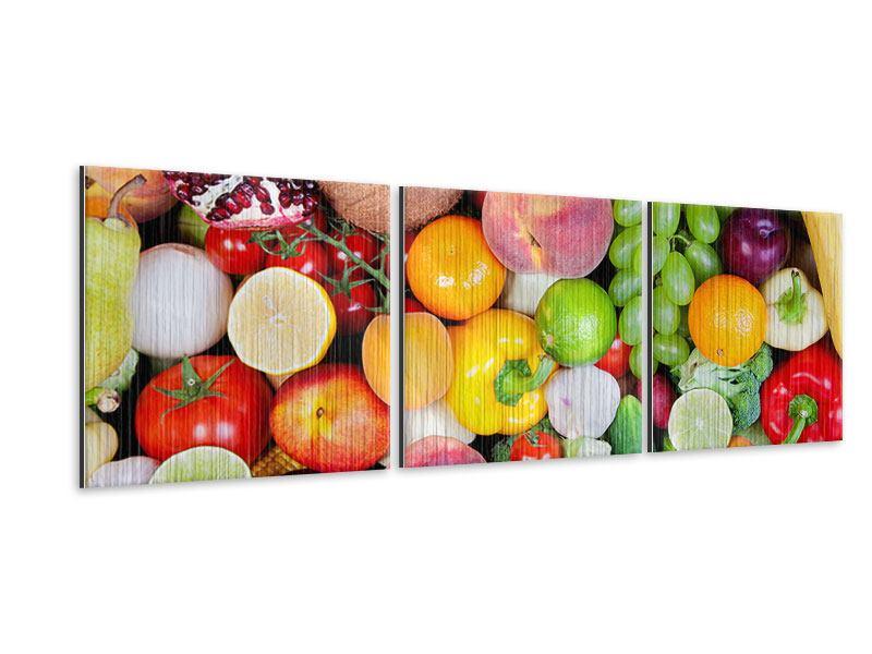 Panorama Metallic-Bild 3-teilig Frisches Obst