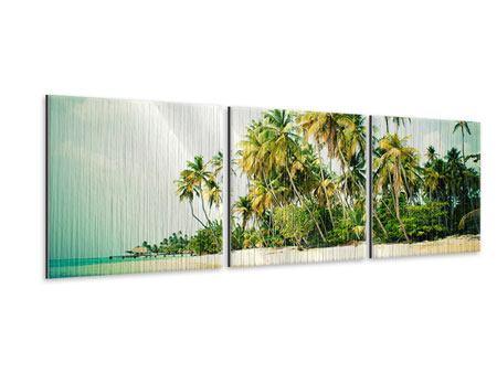Panorama Metallic-Bild 3-teilig Tobago Cays