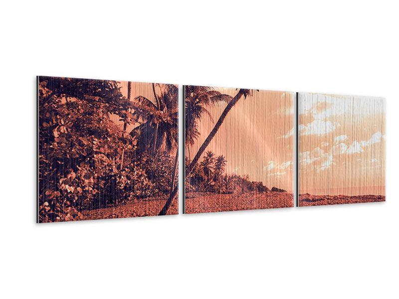 Panorama Metallic-Bild 3-teilig Tropenparadies
