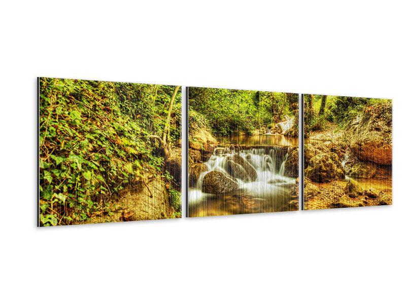 Panorama Metallic-Bild 3-teilig Wasserfall im Wald