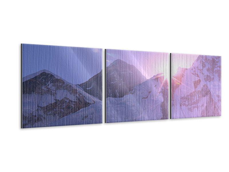 Panorama Metallic-Bild 3-teilig Sonnenaufgang beim Mount Everest