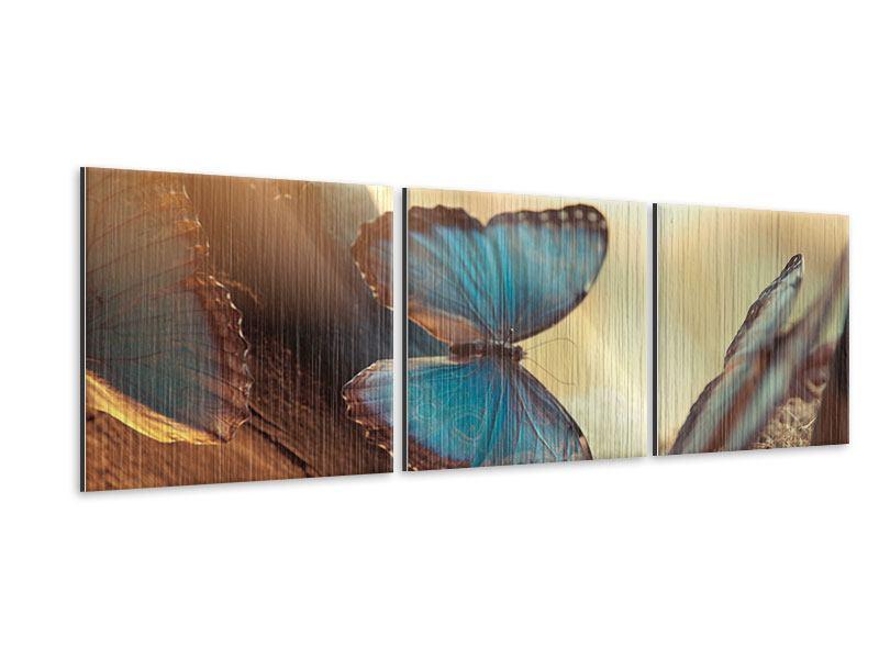 Panorama Metallic-Bild 3-teilig Schmetterlinge