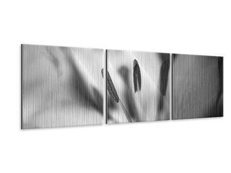 Panorama Metallic-Bild 3-teilig Makro Lilienblatt