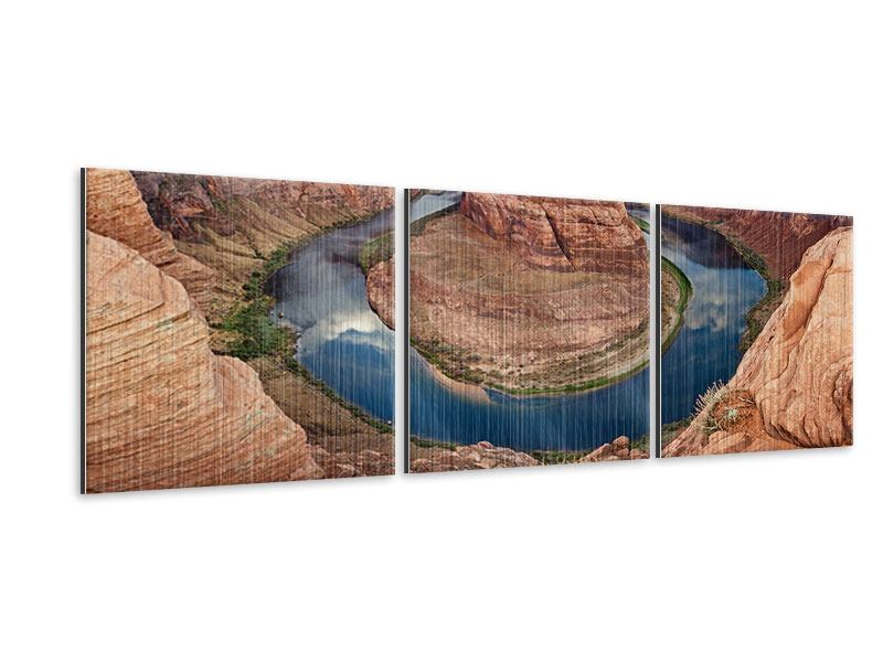 Panorama Metallic-Bild 3-teilig Horseshoe Bend