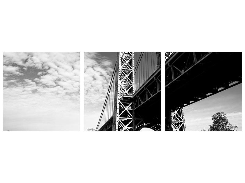 Panorama Metallic-Bild 3-teilig Georg-Washington-Bridge