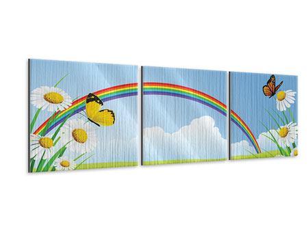 Panorama Metallic-Bild 3-teilig Der bunte Regenbogen
